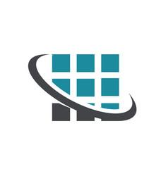square pixel swoosh logo icon vector image