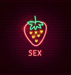 strawberry sex neon label vector image