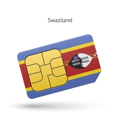 Swaziland mobile phone sim card with flag vector image