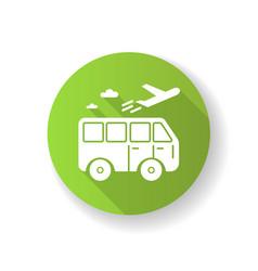Travel means green flat design long shadow glyph vector