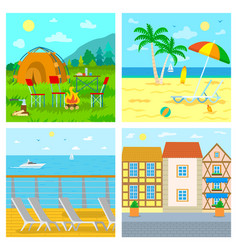 Traveling to seaside mountains camping and cafe vector