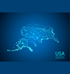 usa map with nodes linked by lines concept of vector image