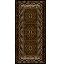 Vintage carpet with ethnic ornaments in brown shad vector