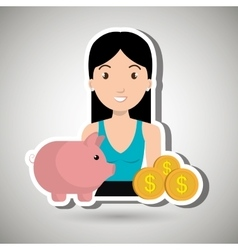 Woman piggy currency money vector