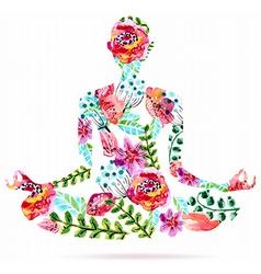 Yoga pose watercolor bright floral vector