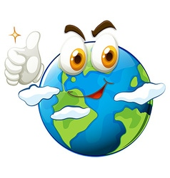 Earth with face and thumb up vector image