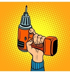 Hand with an electric drill vector image vector image