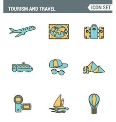 Icons line set premium quality of tourism travel vector image vector image