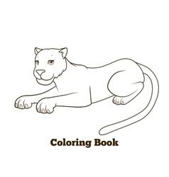 Panther cartoon coloring book vector
