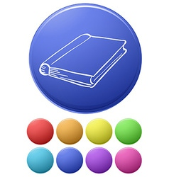 Small buttons and a big button with a notebook vector image