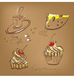 a cup of coffee cupcake and cheese vector image vector image