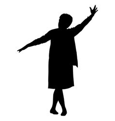 Black silhouette woman with her hands raised vector image