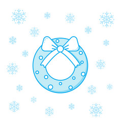 christmas decorative wreath and snowflakes vector image