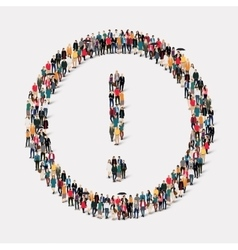 group people shape exclamation mark vector image