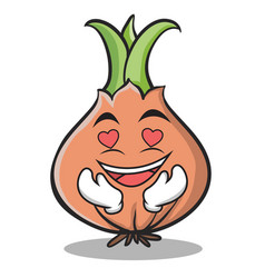 in love onion character cartoon vector image vector image