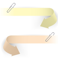 realistic arrows and clips on white background vector image vector image