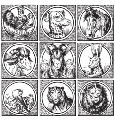 set of antique animals engravings vector image