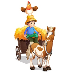 A farmer riding a cart with a chicken above his vector image