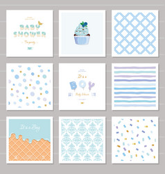 boy baby shower templates seamless patterns set in vector image vector image