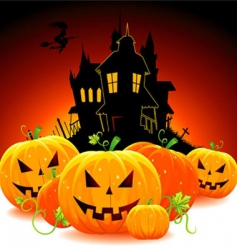 castle with pumpkins vector image