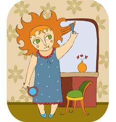 girl mirror combs hair vector image