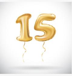 Golden number 15 fifteen metallic balloon party vector