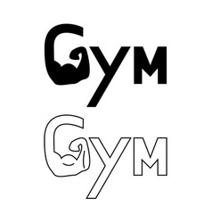 hand of gym set logo vector image