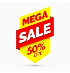 Mega sale banner Yellow and red colors vector image