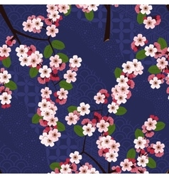 Seamless floral pattern with cherry sakura flowers vector image vector image