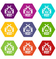wild west revolver icons set 9 vector image