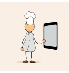 cartoon chef with menu tablet vector image