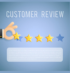 customer experience review hand holding star vector image