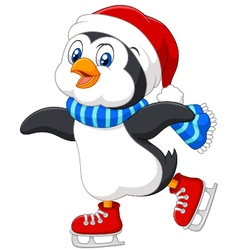 Cute cartoon penguin doing ice skating isolated vector image