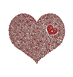 Heart-shaped design element made of red pearls vector image