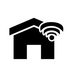 house and wifi signal icon vector image