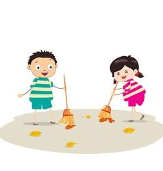 little girl sweeping vector image
