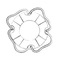 Monochrome contour hand drawing of flotation hoop vector