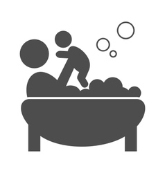 Parent takes a bath with the baby pictogram flat vector image