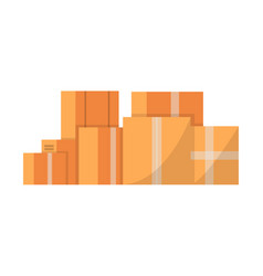 stack of cardboard boxes isolated icon vector image vector image
