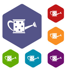 Watering can icons set vector