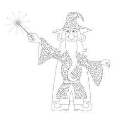 Wizard with magic wand outline vector image vector image