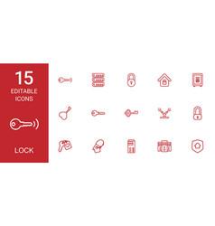 15 lock icons vector image