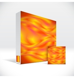 3d identity box with abstract fire lines cover vector