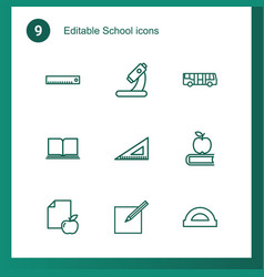 9 school icons vector image