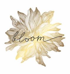 A golden flower hand drawing vector