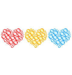 abstract bubbles hearts vector image