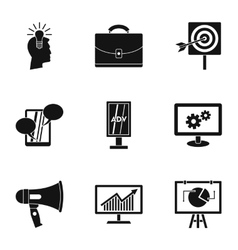 Advertising icons set simple style vector