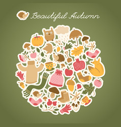autumn hedgehog round composition vector image