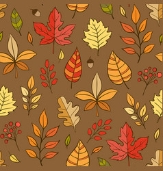autumn seamless pattern with leaves vector image