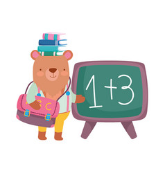back to school bear with books on head chalkboard vector image